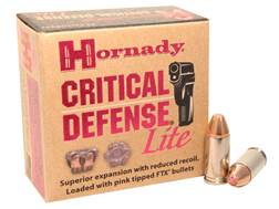 Hornady Critical Defense Lite Ammunition 9mm Luger 100 Grain Flex Tip eXpanding Box of 25