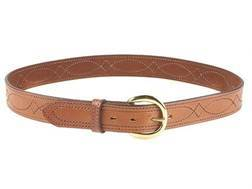 "Bianchi B12 Sport Stitched Belt 1-1/2"" Brass Buckle Suede Lined Leather Tan 44"""