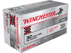 Winchester Super-X Ammunition 32 S&W Long 98 Grain Lead Round Nose Box of 50
