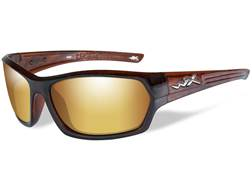 Wiley X Legend Sunglasses Gloss Hickory Brown Frame and Polarized Gold Mirror Lens