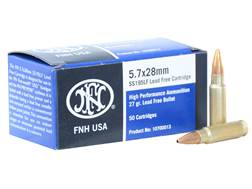 FN SS195LF Ammunition 5.7x28mm FN 27 Grain Jacketed Hollow Point Lead-Free Box of 50