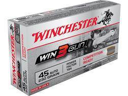 Winchester Win3Gun Ammunition 45 ACP 230 Grain Brass Enclosed Base Box of 50