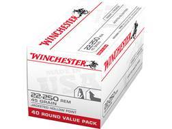 Winchester USA Ammunition 22-250 Remington 45 Grain Jacketed Hollow Point