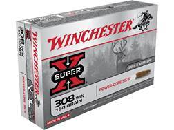 Winchester Super-X Power-Core 95/5 Ammunition 308 Winchester 150 Grain Hollow Point Boat Tail Lead-Free Case of 200 (10 Boxes of 20)