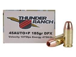 Cor-Bon Thunder Ranch DPX Defensive Ammunition 45 ACP +P 185 Grain Barnes TAC-XP Hollow Point Lead-Free Box of 20