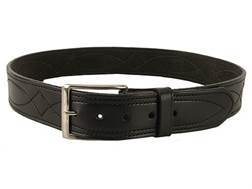 "DeSantis Fancy Stitch Holster Belt 1-3/4"" Nickel Plated Brass Buckle Suede Lined Leather Black 34"""