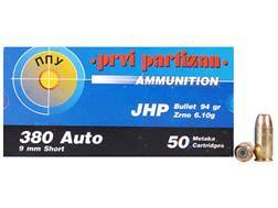 Prvi Partizan Ammunition 380 ACP 94 Grain Jacketed Hollow Point Box of 50