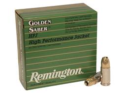 Remington Golden Saber Ammunition 9mm Luger 147 Grain Brass Jacketed Hollow Point Box of 25