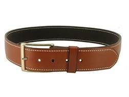 "DeSantis Plain Holster Belt 1-3/4"" Brass Buckle Suede Lined Leather Tan 44"""