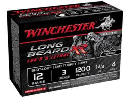 "Winchester Long Beard XR Turkey Ammunition 12 Gauge 3"" 1-3/4 oz #4 Copper Plated Shot"