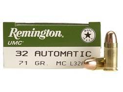 Remington UMC Ammunition 32 ACP 71 Grain Full Metal Jacket Box of 50