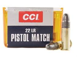 CCI Pistol Match Ammunition 22 Long Rifle 40 Grain Lead Round Nose