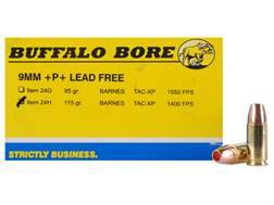 Buffalo Bore Ammunition 9mm Luger +P+ 115 Grain Barnes TAC-XP Hollow Point Lead-Free Box of 20