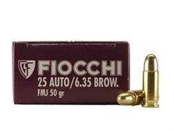 Fiocchi Shooting Dynamics Ammunition 25 ACP 50 Grain Full Metal Jacket Box of 50