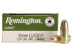 Remington UMC Ammunition 9mm Luger 124 Grain Full Metal Jacket