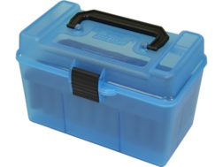 MTM Deluxe Flip-Top Ammo Box with Handle 378 Weatherby Magnum to 500 Nitro Express 50-Round Plastic Clear-Blue