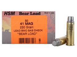 HSM Bear Ammunition 41 Remington Magnum 230 Grain Semi-Wadcutter Gas Check Box of 50