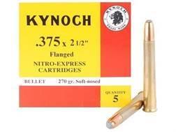 "Kynoch Ammunition 375 Nitro Express Flanged 2-1/2"" 270 Grain Woodleigh Weldcore Soft Point Box of 5"