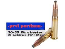 Prvi Partizan Ammunition 30-30 Winchester 150 Grain Flat Nose Soft Point Box of 20