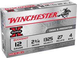 "Winchester Super-X Ammunition 12 Gauge 2-3/4"" Buffered #4 Buckshot 27 Pellets Box of 5"