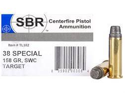 SBR Target Ammunition 38 Special 158 Grain Lead Semi-Wadcutter Box of 50