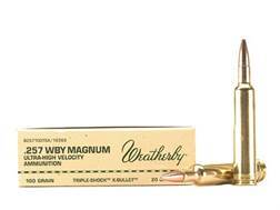 Weatherby Ammunition 257 Weatherby Magnum 100 Grain Barnes Triple-Shock X Bullet Hollow Point Lead-Free Box of 20