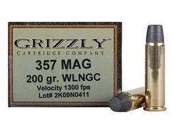 Grizzly Ammunition 357 Magnum 200 Grain Lead Wide Flat Nose Gas Check Box of 20