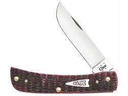"""Case Sod Buster Jr Folding Pocket Knife 3.675"""" Skinning Point Stainless Steel Blade Raspberry Bone Handle"""