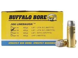 Buffalo Bore Ammunition 500 Linebaugh 435 Grain Lead Long Flat Nose High Velocity Box of 50