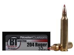 Nosler Trophy Grade Ammunition 204 Ruger 32 Grain Ballistic Tip Varmint Lead-Free Box of 20
