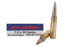 Prvi Partizan Ammunition 7.5mm Schmidt-Rubin (7.5x55mm Swiss) 174 Grain Full Metal Jacket Box of 20