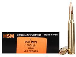 HSM Trophy Gold Ammunition 270 Winchester 130 Grain Berger Hunting VLD Hollow Point Boat Tail Box of 20