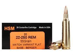 HSM Varmint Gold Ammunition 22-250 Remington 55 Grain Berger Varmint Hollow Point Flat Base Box of 20