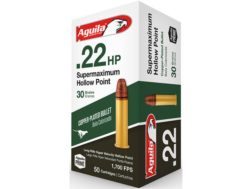 Aguila Super Maximum Ammunition 22 Long Rifle 30 Grain Hyper Velocity Plated Lead Hollow Point Box of 500 (10 Boxes of 50)