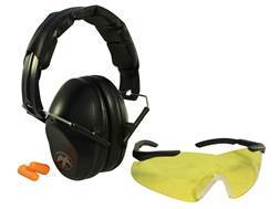 Walker's Duck Commander PRO-Low Profile Folding Earmuffs (NRR 31dB) Shooting Glasses and Plugs Combo Black