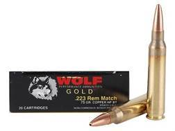 Wolf Gold Ammunition 223 Remington Match 75 Grain Hollow Point Boat Tail