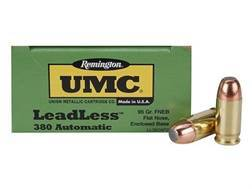Remington UMC Ammunition 380 ACP 95 Grain Flat Nose Enclosed Base Box of 50