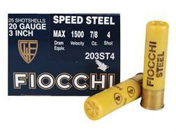 "Fiocchi Speed Steel Ammunition 20 Gauge 3"" 7/8 oz #4 Non-Toxic Steel Shot"