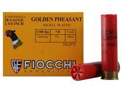 "Fiocchi Golden Pheasant Ammunition 28 Gauge 2-3/4"" 7/8 oz #7-1/2 Nickel Plated Shot Box of 25"