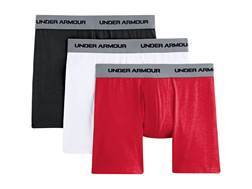 "Under Armour Men's 6"" UA Cotton Stretch Boxerjock Underwear Cotton and Polyester 3-Pack"
