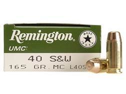 Remington UMC Ammunition 40 S&W 165 Grain Full Metal Jacket