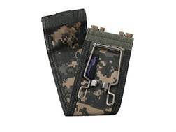"""California Competition Works Shell Caddy Tactical Shotshell Ammunition Carrier 12 Gauge 6 Round 2-3/4"""" and 3"""" Shells Polymer Coyote Brown with Nylon Cover Digital ACU Camo"""