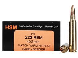 HSM Varmint Gold Ammunition 223 Remington 40 Grain Berger Varmint Hollow Point Flat Base Box of 20