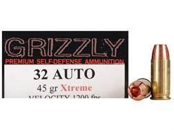 Grizzly Self-Defense Ammunition 32 ACP 45 Grain Xtreme Copper Hollow Point Lead-Free Box of 20