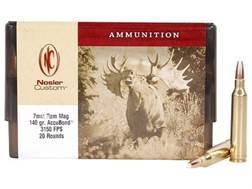 Nosler Custom Ammunition 7mm Remington Magnum 140 Grain AccuBond Spitzer Box of 20