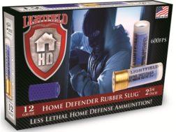 """Lightfield Home Defender Less Lethal Ammunition 12 Gauge 2-3/4"""" 130 Grain Rubber Slug Box of 5"""
