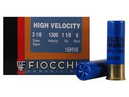 "Fiocchi High Velocity Ammunition 16 Gauge 2-3/4"" 1-1/8 oz #6 Chilled Lead Shot Box of 25"