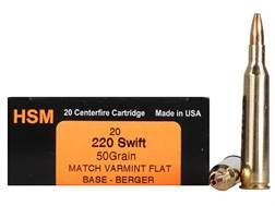 HSM Varmint Gold Ammunition 220 Swift 50 Grain Berger Varmint Hollow Point Flat Base Box of 20