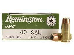 Remington UMC Ammunition 40 S&W 180 Grain Jacketed Hollow Point Box of 50