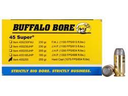 Buffalo Bore Ammunition 45 Super 255 Grain Hard Cast Flat Nose Box of 50